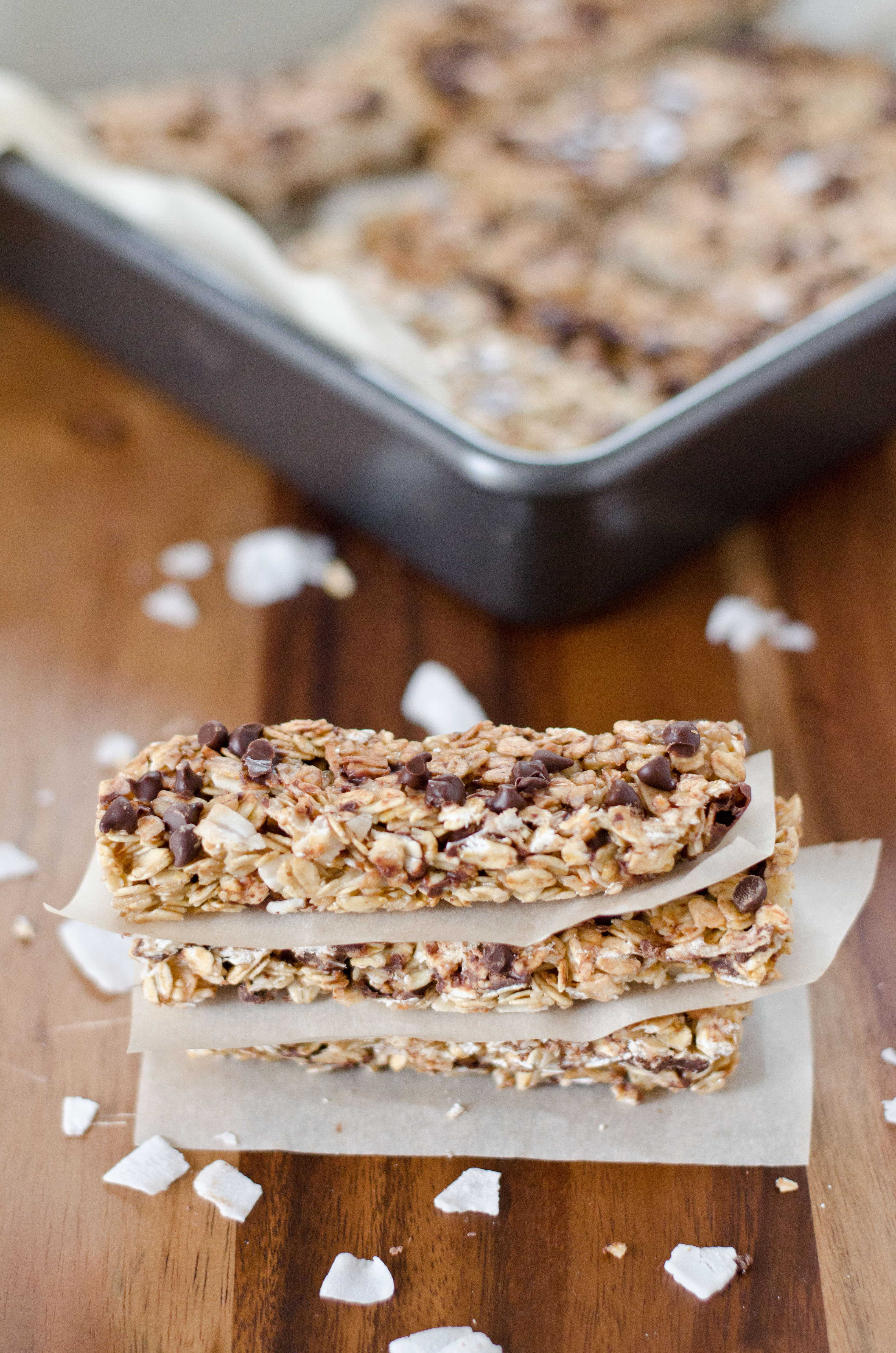 Chewy coconut chocolate chip granola bars amy kay s kitchen