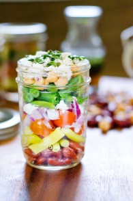 Layered Bean and Feta Salad Jars